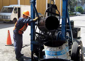 Drain Cleaning with Bucket Machines